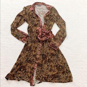 Hale bob leopard animal print stretch wrap dress